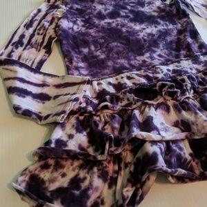Flapdoodles Dresses - FLAPDOODLES Purple Tie Dye Studded Heart Dress